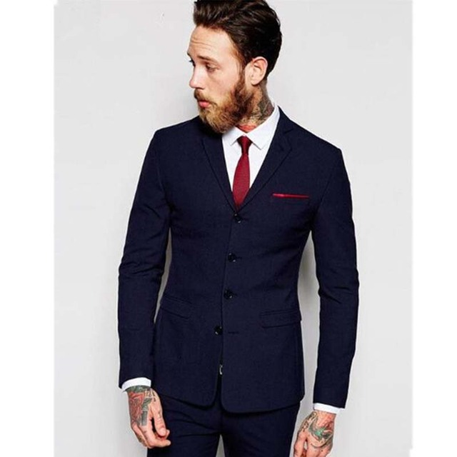 2017 Fashion 4 Ons Mens Suits Costume Homme Formal Tuxedos Best Men Wedding Suit 2 Pieces