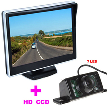 7LED Автомобильная Камера Заднего Вида HD 170 Угол + 5 «TFT ЖК-Монитор зеркала Автомобиля резервного копирования камера автомобиля 2 в 1 Автоматическая Система Помощи При Парковке