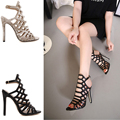 Peep Toe Sexy Women's Caged Hollow Stiletto high heel sandals summer Boots Gladiator Sandals ladies Fashion summer shoes