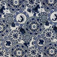 Commercio all'ingrosso piastra modello in cotone tessuto di lino per l'artigianato di cucito materiale del tessuto decorazione della casa blu e bianco tessuti