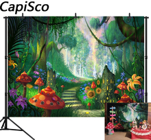 Capisco Fairy Tale Wonderland Enchanted Forest photography backdrops Mushrooms Butterflies Baby Birthday Party photo background