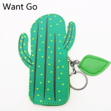Want Go Cute Cartoon Cactus Women Coin Purse Zippers Pu Leather Small Bag Mini Key Storage Pouch Waterproof Girls Wallet Purse candy color coin purse for girls women high grade pu girl burst sell modern creative fashion waterproof small wallet key