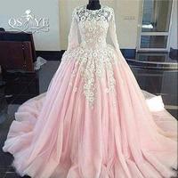Vestido De Festa Ball Gown Pink Prom Dresses 2017 Sheer O Neck Long Sleeves 3D Floral
