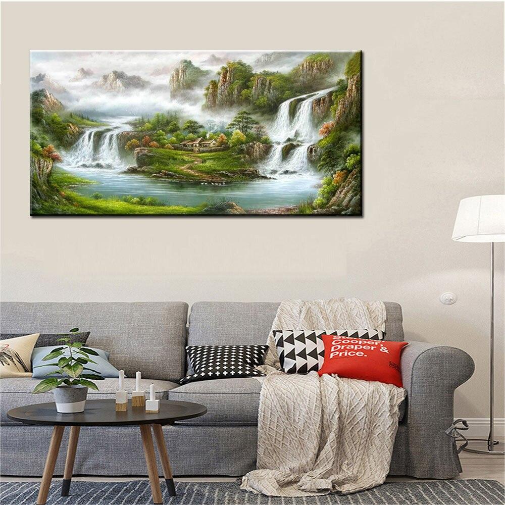 Moderna Handmade di Paesaggio di Montagna Pittura A Olio Su Tela di Canapa Per Living Room Decorazione Della Parete di Arte Pittura di Paesaggio di Stile Cinese - 2