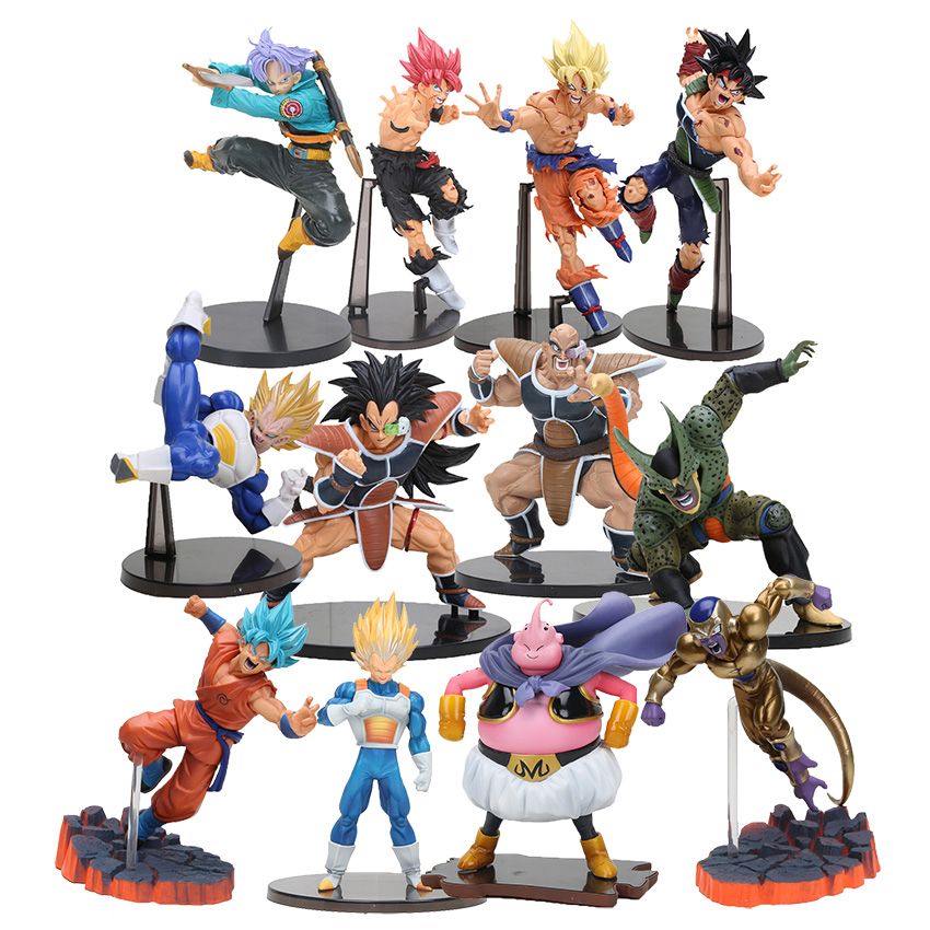 все цены на 16cm PVC Brinquedos SC Dragon Ball Z Figure super Saiyan son goku Raditz Nappa vegeta trunks buu DXF DBZ Action Figure Model Toy