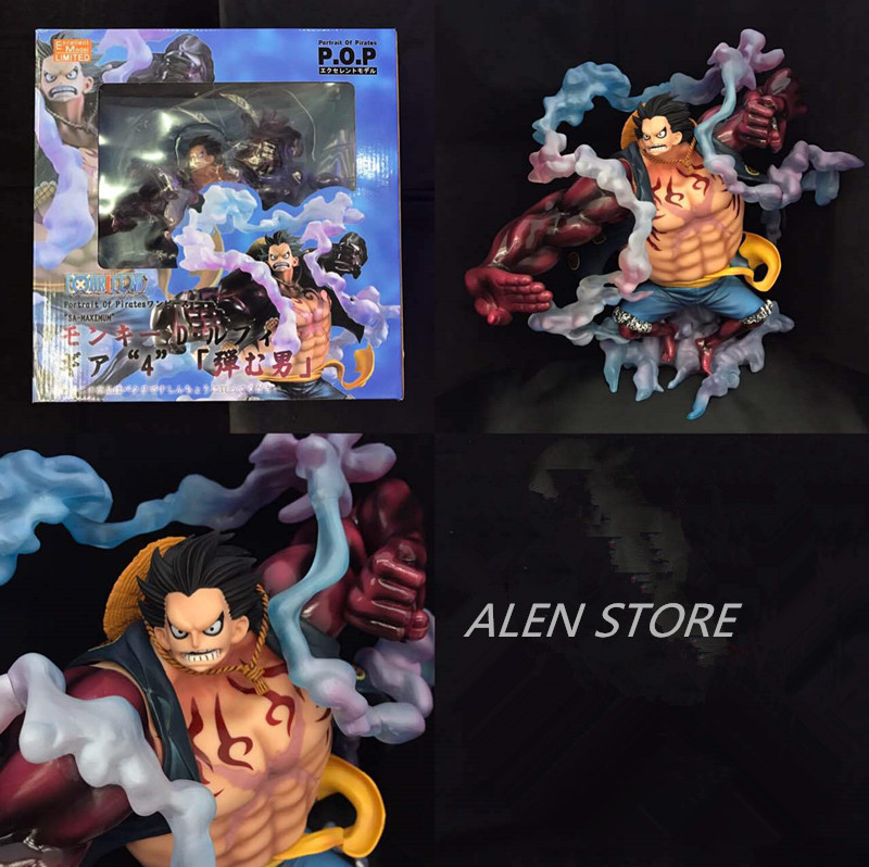 ALEN 11 One Piece Anime P.O.P Monkey D Luffy Gear 4 Sa-maximum Ver. Boxed 28cm PVC Action Figure Collection Model Toy