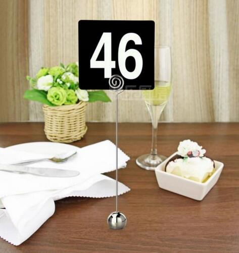 22cm Height Stainless Steel Round Shaped Mini Table Number Stands Place Card  Holder Menu Stand For