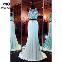 Двойка платье 2018 Illusion Mermaid выпускного платья длинные с кристаллами бисером шифон Синие вечерние Вечеринка платье