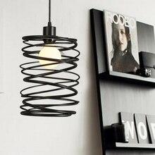 Luces colgantes vintage de hierro negro para restaurantes iluminación interior espiral cable colgante lámpara Original gratis