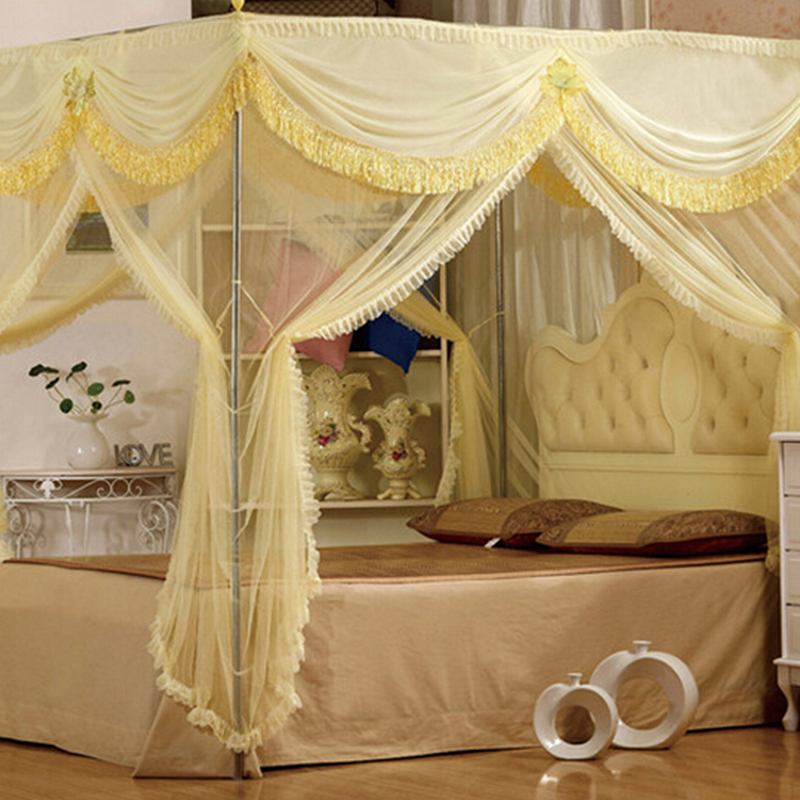[byetee] Mosquito Net Red Bed Canopy Curtains Palace Mosquito Net Three  door Luxury Bed Canopy with Stainless Steel Frame-in Mosquito Net from Home  & Garden ...