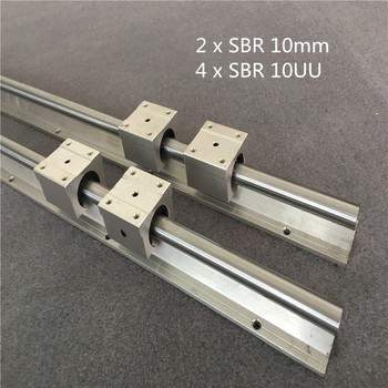 2PCS SBR 10mm Linear Rail 2pcs SBR10 1200 1500mm Fully Supported Slide Shaft Rod Guide with 4pcs SBR10UU Block
