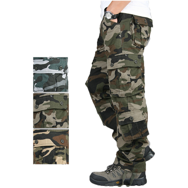 Pocket MILITARY Style Army Camouflage CARGO PANTS Men TACTICAL 6789cmAirborne Jeans Trouser Male Casual Plus Size Cotton baggy#3 1