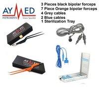 3 الأسود القطبين 7 البرتقال القطبين ملقط 1 علبة التعقيم 4 رمادي الكابلات الكابلات الكهربائية مقص جراحي 2 الأزرق