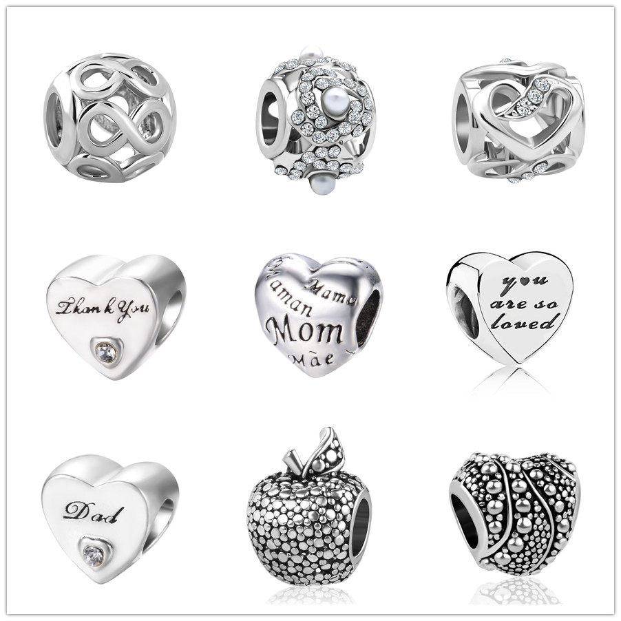 3b4dc9c13 european 1pc love mom&dad exquisite hollow silver bead charms Fit Pandora  Charms Bracelet for women men