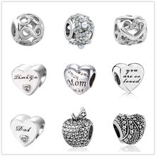 42acb9a2a european 1pc love mom&dad exquisite hollow silver bead charms Fit Pandora  Charms Bracelet for women men
