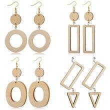 Japanese Harajuku style Earrings Retro Wooden Wood Rectangular Geometric Round Earrings Korean Temperament Simple Girl Earrings reticulated round silver earrings simple style earrings