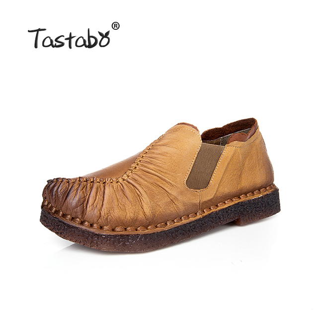 Tastabo Genuine Leather  Flats Shoes Pleated Women's Woven Flats Shoe Comfortable Original Shoes For Driving Ladies Plus Size