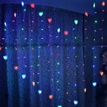 1.5×1.4m Heart Shape LED String Light Holiday Christmas wedding decoration lamp led icicle Curtain lamp EU 220v 128led 34 Hearts