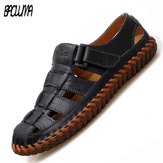 New Men Genuine Cow Leather Sandals Outdoor Summer Handmade Men slippers Shoes Men Beach Breathable sneakers Casual Shoes