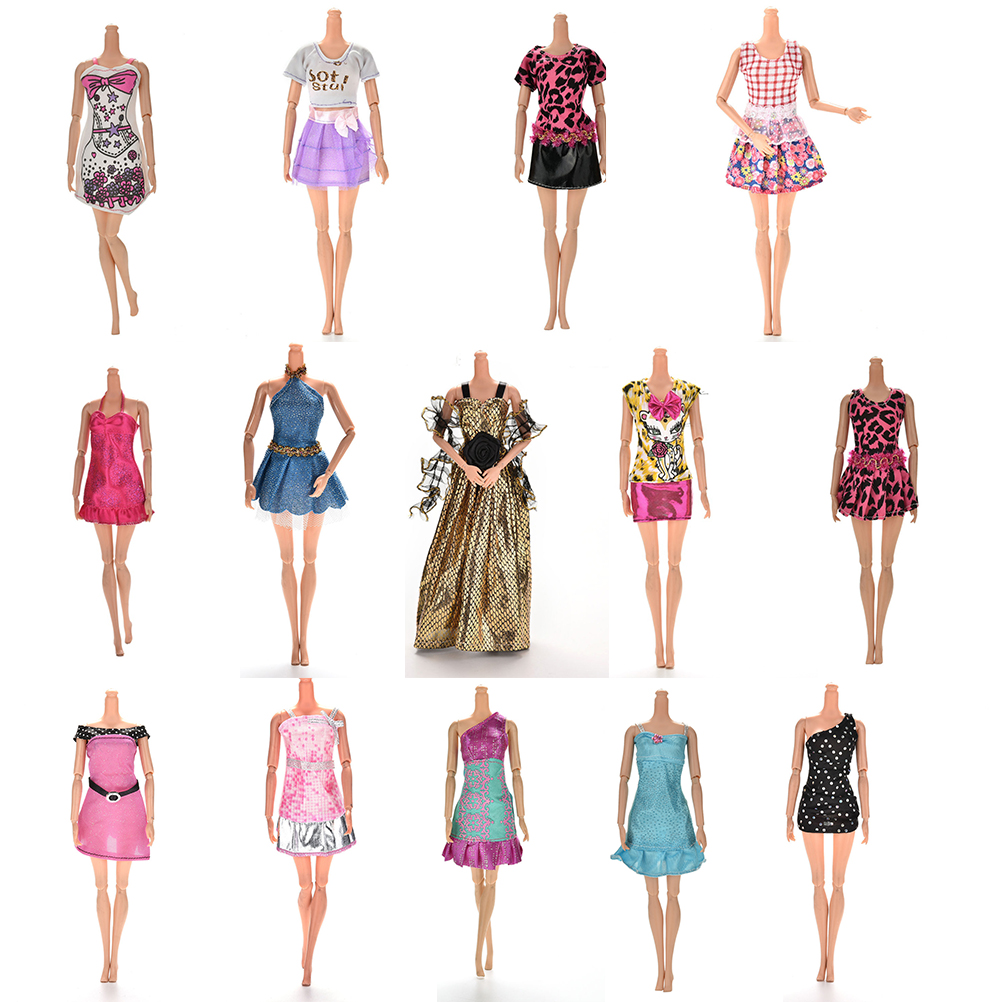 цены One Piece Multi Styles Handmade for Barbie Dress Fashion Mini Doll Dress for Barbie Dolls Party Slim Dress Clothing Accessories
