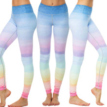 ac7c3ddf38 Rainbow Gym Running Tights Women High Elastic Training Exercise Pants  Anti-sweat Fitness Sport Leggings Dance Workout Trousers