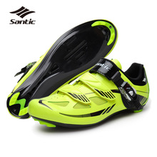 Santic Mens Road Cycling Shoes Nylon+TPU Bottom Fluorescent yellow Road Bike Shoes Self-locking Bicycle Shoes Zapatilla Ciclismo