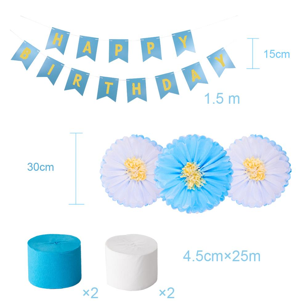 Set of 26 Paper Party Decorations Blue White Happy Birthday Garland Paper Pom pom Flowers Birthday Set Supplies Decorations in Party DIY Decorations from Home Garden