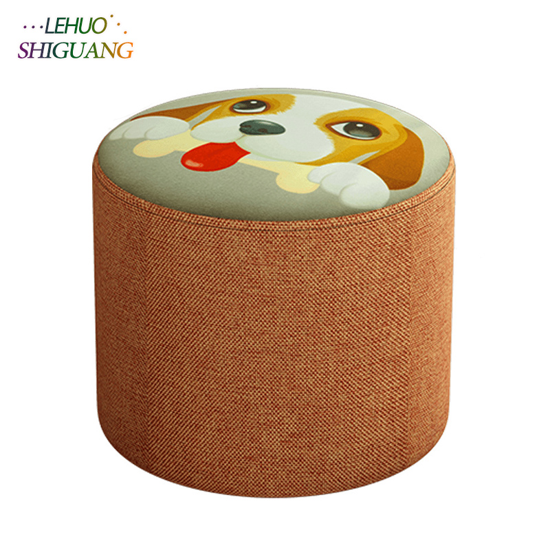 Modern small round seat stool Ottomans Wooden cloth Doorway Change shoes Small chair Living room Table side kids furniture excellent quality simple modern stools fashion fabric stool home sofa ottomans solid wood fine workmanship chair furniture