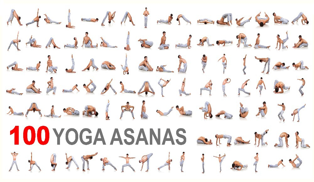 100 Yoga asanas home decoration poster HD print paper size ...