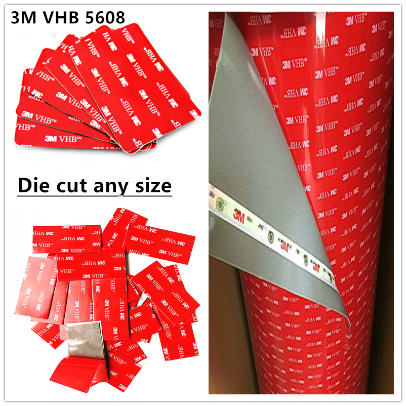 Factory Direct Sales 10pcs/lot 3m Vhb Tape 5608 A Gray Heavy Duty Mounting Double Sided Adhesive Acrylic Foam Tape Die Cut