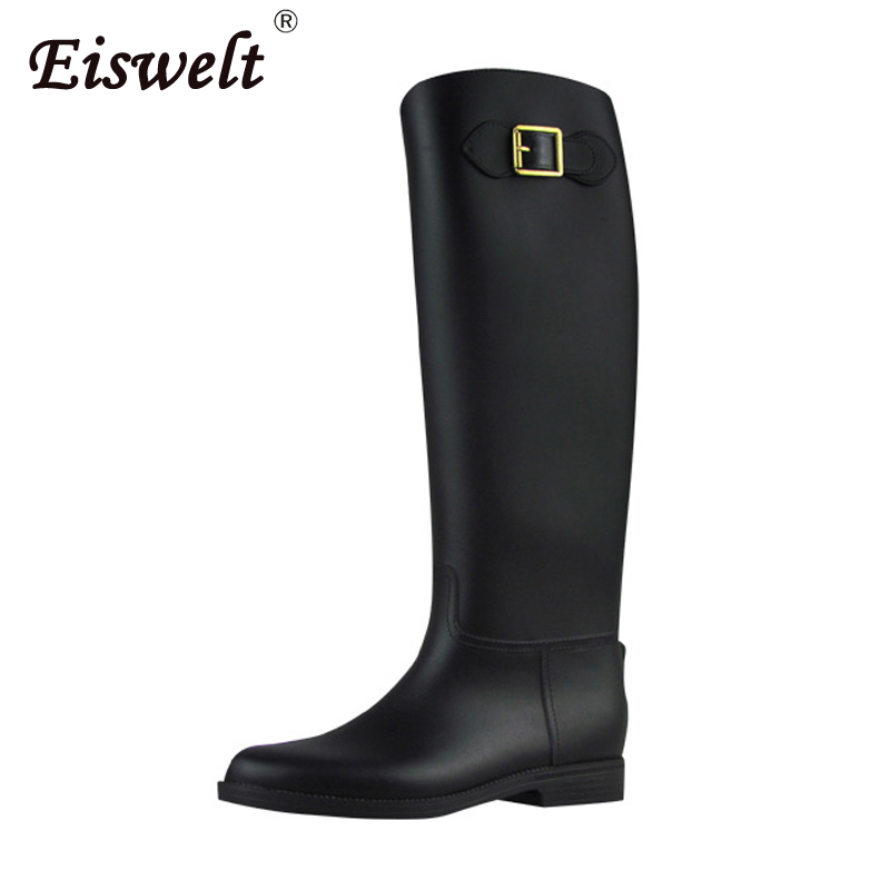 EISWELT Fashion Rain Boots Knee High Women Shoes Rubber Solid Female Casual Rainboots Fashion Ladies Buckle Winter Women BootsEISWELT Fashion Rain Boots Knee High Women Shoes Rubber Solid Female Casual Rainboots Fashion Ladies Buckle Winter Women Boots
