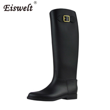 EISWELT Fashion Rain Boots Knee High Women Shoes Rubber Solid Female Casual Rainboots Fashion Ladies Buckle Winter Women Boots