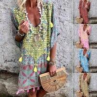 Новые женские без рукавов Boho свободные короткое платье; вечерние повседневное Лен платья-кафтаны Большие размеры, S-3XL