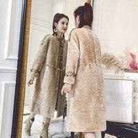 Зимняя теплая верхняя одежда женские Меховые пальто длинный отрезок стрижки овец пальто с мехом Женская кожи овец меховые пальто femme Abrigo де