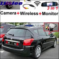 For Peugeot 406 407 3 in1 Special Rear View Reversing Camera + Wireless Receiver + Mirror Monitor Back up Parking System