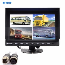 DIYKIT 4CH 4PIN DC12V-24V 9 Inch 4 Split Quad LCD Screen Display Color Rear View CCTV Monitor Video Security Monitoring