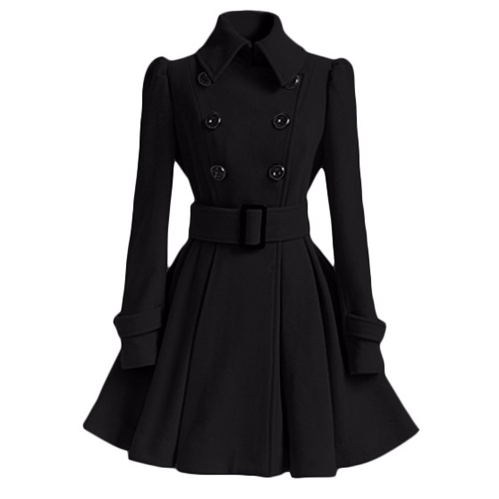 New Autumn Winter Women Overcoat Slim A-Line Solid Sash Double-Breasted Lapel Neck Mid-Long Fashion Warm Trench Coat Outwears
