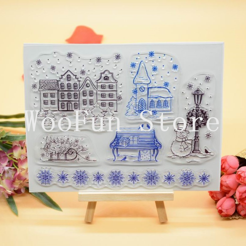 14x17cm House Snowman Scrapbook DIY Photo Album Cards Transparent Acrylic Silicone Rubber Clear Stamps Sheet