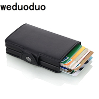 2018 New Men Credit Card Holder Fashion PU Leather Metal Card Holder With RFID Card Case Automatic Money Cash Clip Mini Wallet