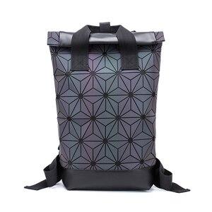 Image 5 - Модные женские рюкзаки 2021, Светящийся рюкзак с геометрическим рисунком, большой мужской школьный рюкзак для ноутбука, рюкзак на плечо для путешествий с голографическим рисунком