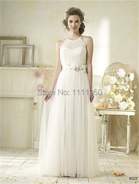 Modern Tulle Wedding Dress With Flowers Sashess Halter Bridal Gowns