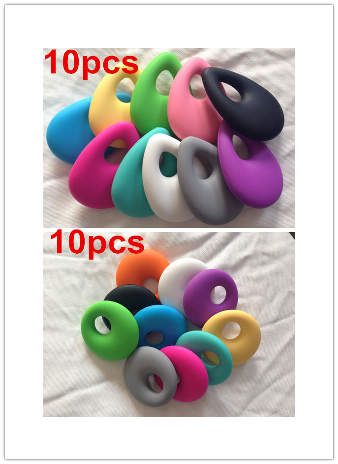 HOT 2 in 1 10PCS round pendant and 10pcs teardrop Teething Necklace pendant nursing necklace bead