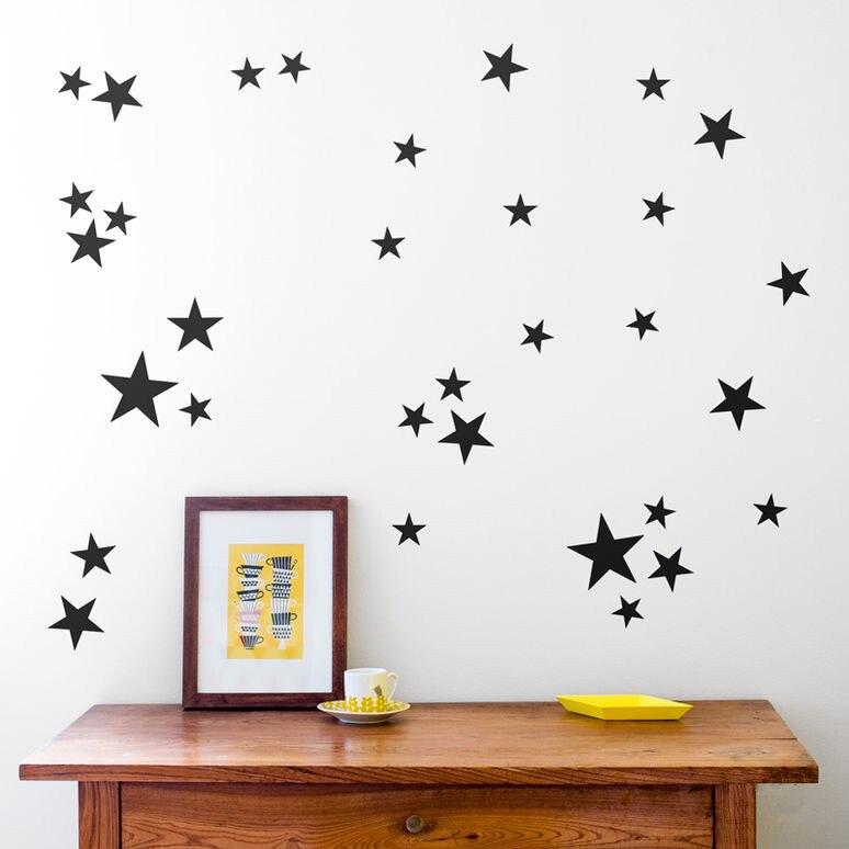 JJRUI 21 Farben Sterne Vinyl Mädchen Schlafzimmer Wandtattoos Aufkleber  Gold Sterne Wandkunst Aufkleber Dekoration Für Kinder Zimmer Gold