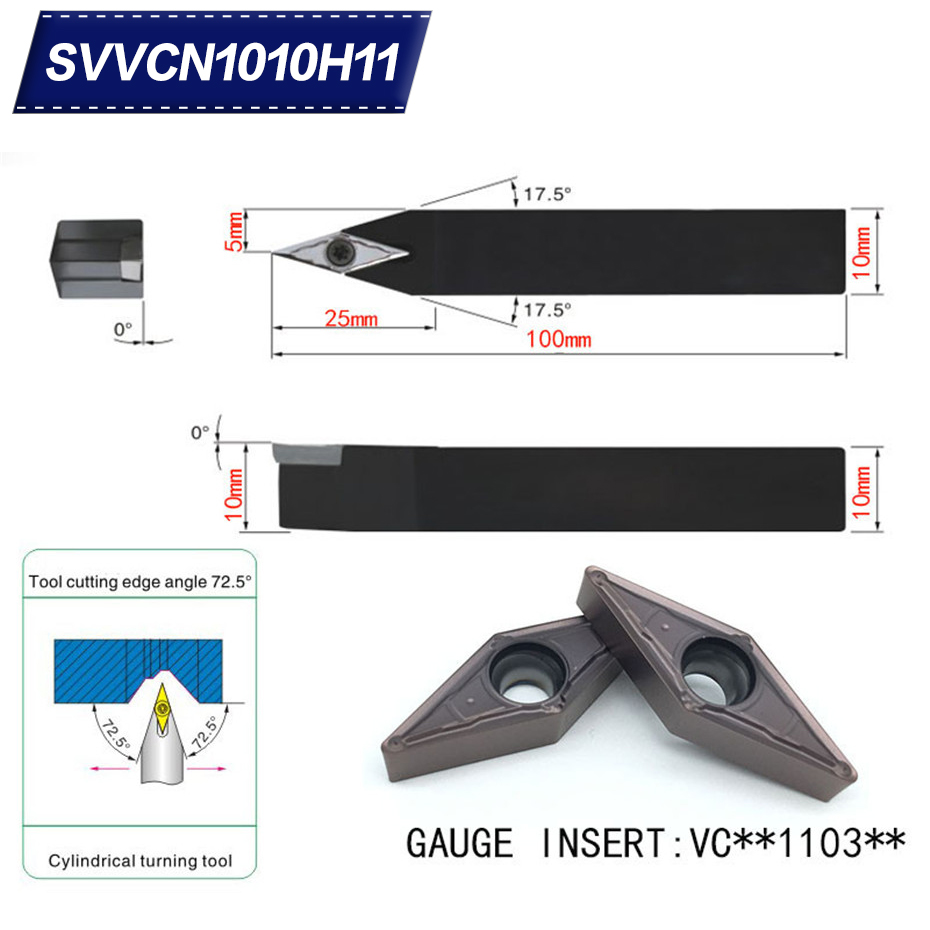 SVVCN1010H11 72.5 Degrees External Turning Tool Holder For VCMT110304 VCMT110308 Used On CNC Lathe Machine