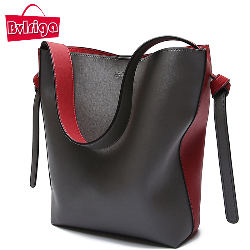 BVLRIGA Brand Luxury Handbags Women Bag Designer Women Leather Bag Female Shoulder Bag Women Messenger Bags Bucket Tote Big 2017