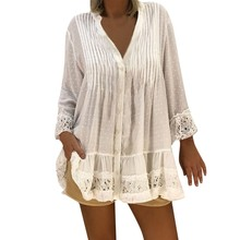 JAYCOSIN 2019 Women V Neck Caftan Boho Beach Cover Plus Size Ladies Vintage Hippie Baggy Bloue 19MAR29(China)