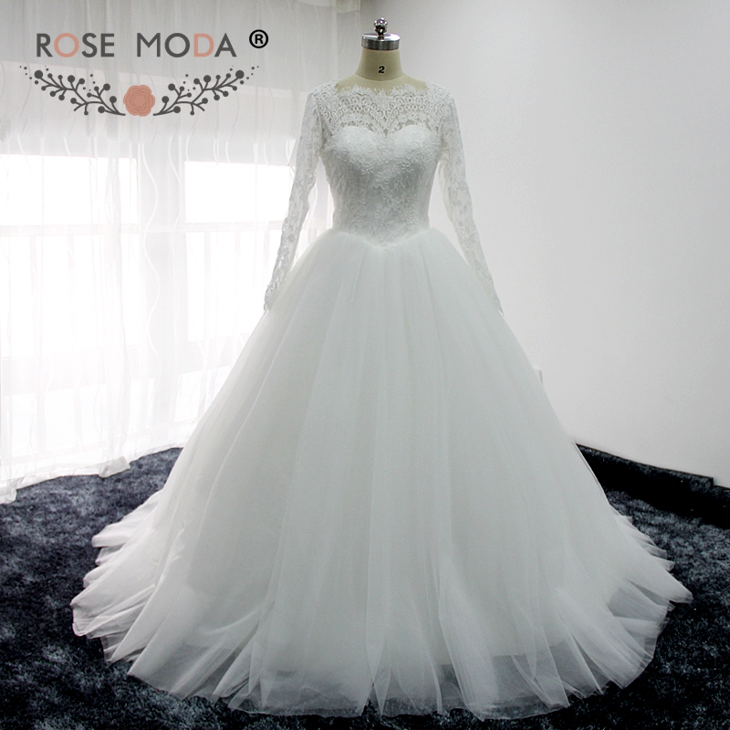 Rose Moda High Neck Long Sleeves Puffy Wedding Dress Lace
