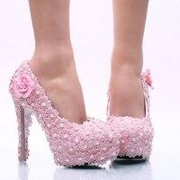 2017 New Fashion Różowy Lace Wisiorek Kobiety Buty Ślubne Wysokie Obcasy Platformy Panie Party Buty Różowe Kwiaty Kobiety Ubierać Buty