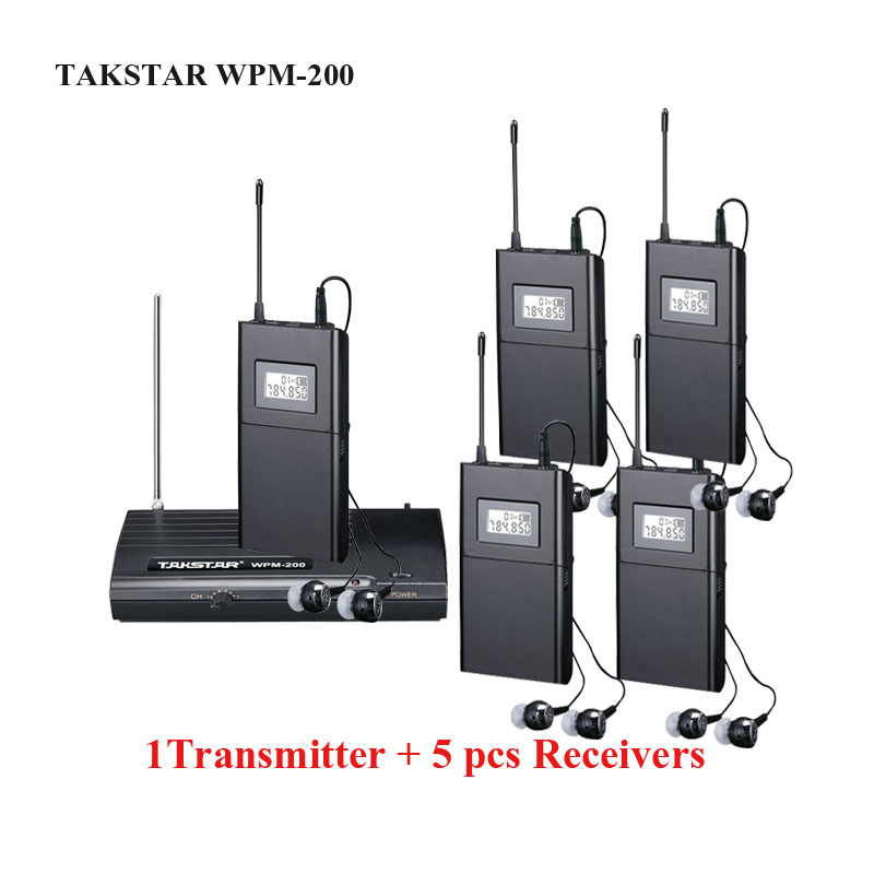 Prix pour Takstar wpm-200 Sans Fil In-Ear Stéréo UHF Sans Fil Casque moniteurs de Scène mots par minute 200 1 Émetteur 5 Récepteurs