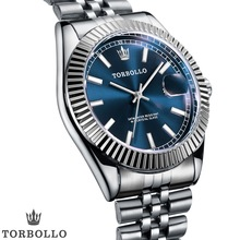 TORBOLLO Luxury Quartz Blue Dial Silver Band 3ATM Waterproof Mens Wrist Watch
